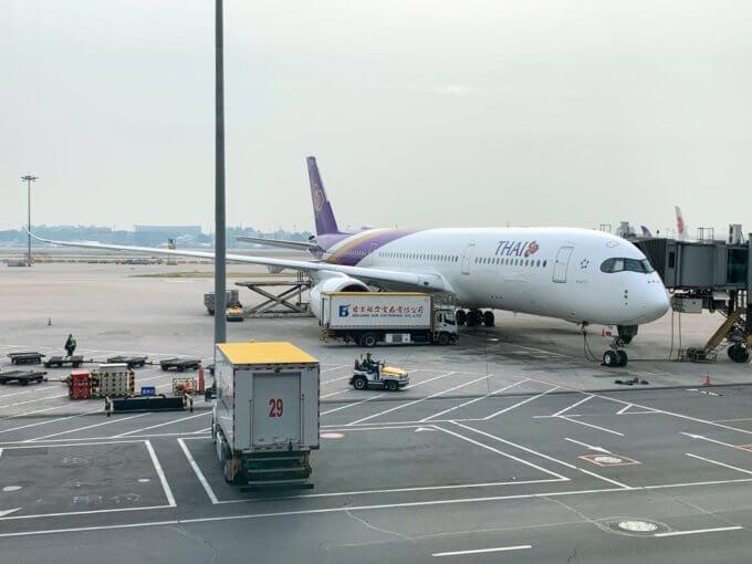 (北京空港のタイ航空 A350-900型機)